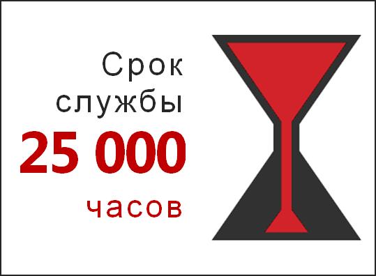 Срок службы 25 000 часов