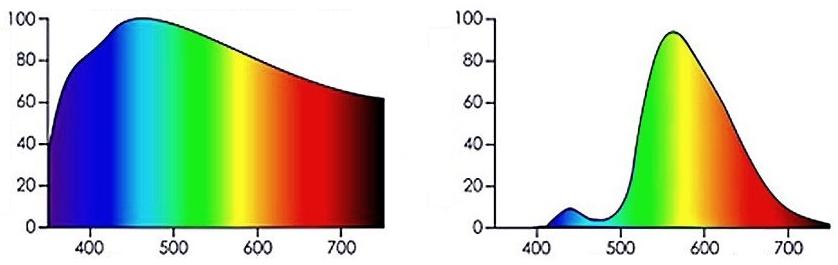 Сравнение спектра солнечного и Led лампы